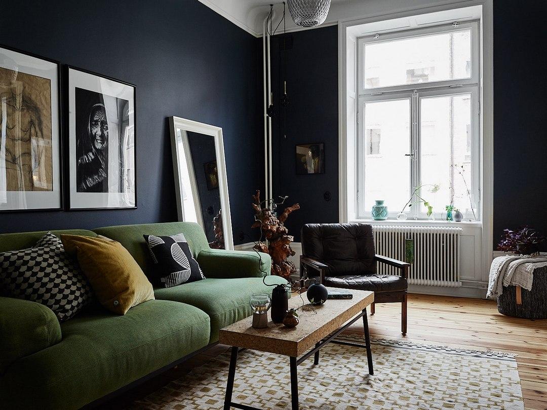 Контрастный интерьер с нотками ретро в Стокгольме (87 кв.