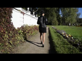 Nude pantyhose, short black dress and high heels. Sunday Outdoors Walking. part one