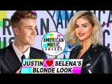 Justin Bieber Goes Wild Over Selena Gomezs Blonde Hair At AMAs American Music Awards 2017 #AMAs