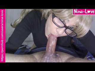 Nerdy blonde gives a sloppy no hands 69 blowjob and swallows a big load