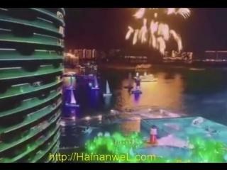 Fantastic concert and fireworks 2018 on the bulk island of Phoenix in Sanya, Hainan, China