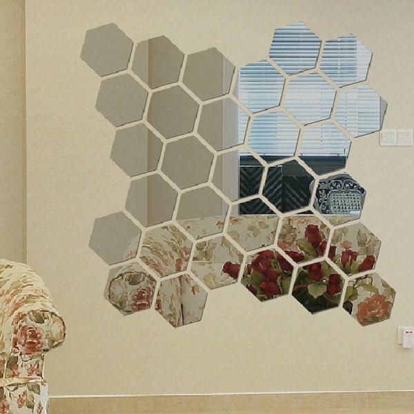 Наклейка-зеркало в виде пчелиных сот