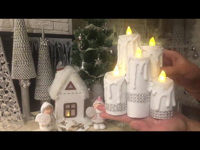 Новогодний декор своими руками! Свечи, Домики из втулки от туалетной бумаги!