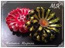 МК Двухцветный цветочек из узкой атласной ленты