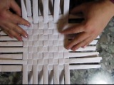 Weaving a square bottom from newspapers. Part 2.