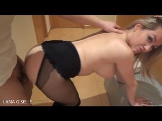 Lana fucks in black crotchless pantyhose