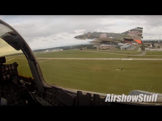 F 4 Phantom Helmet Cam Two Ship Airshow Demo and Departure EAA AirVenture Oshkosh 2016