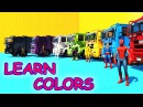 LEARN COLORS with SUPERHEROES CLIFF JUMP on Motorcycles and BMX Cartoon for Kids