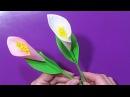 Как Сделать Цветы Из Бумаги Каллы Лилии Поделки своими руками для начинающих!