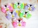 Нарядные резинки бантики пчелки из лент канзаши часть 2МК / hair clips ribbon kanzashi DIY