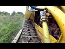 Гусеничный трактор Т-90П, запуск двигателя после длительного простоя, движение