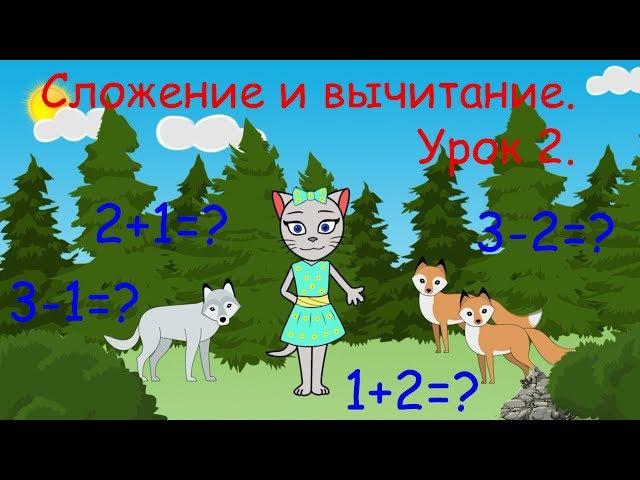 Математика с кисой Алисой. Урок 2. Сложение и вычитание в пределах 3-х. (0)
