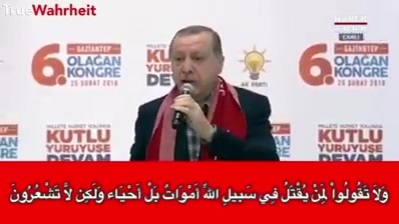 Erdogan mit schockierenden Aussagen über den Märtyrertod. Seine Anhänger jubeln lautstark!