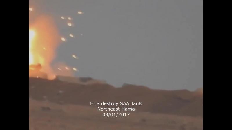 Syria: FSA/HTS destroy SAA tank w/ BGM-71 TOW 03.01.18 in north Hama.