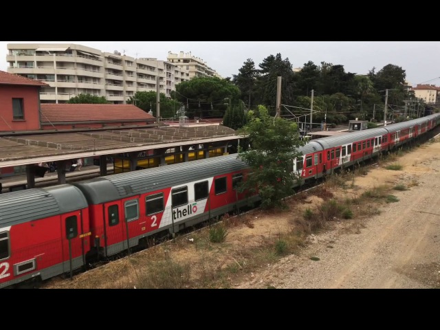 Train Thello: Marseille - Milano at Antibes station / Марсель - Милан на вокзале Антиб
