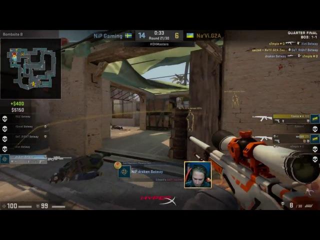 Nip Draken insane 3k clutch [NiP vs. Na'Vi - DreamHack Masters Malmö 2017]