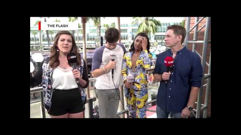 Grant Gustin, Candice Patton and Todd Helbing at IGN SDCC2017