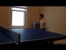 Polish Kid playing ping pong table tennis