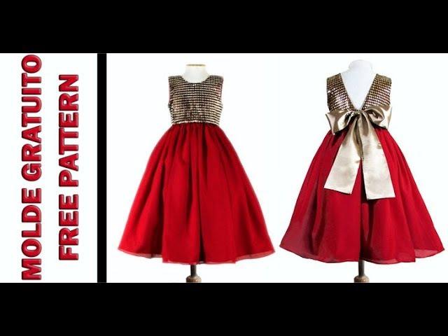 Vestido de Festa Vermelho e Dourado - Molde Dona Fada - Gratuito para 10 anos