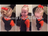 Pointed Double French Braids with Messy Bun hair tutorial by Two Little Girls Hairstyles