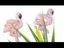 Брошь вышитая бисером Розовый фламинго . Делюсь секретами.