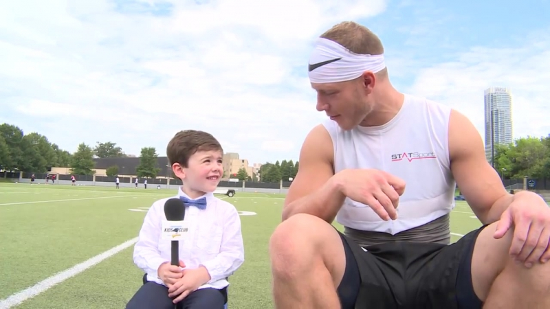 Christian McCaffrey had a special guest at practice!