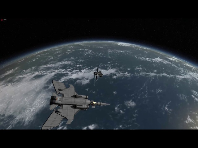 Kerbal Space Program SSTO with variable wing geometry . Stock