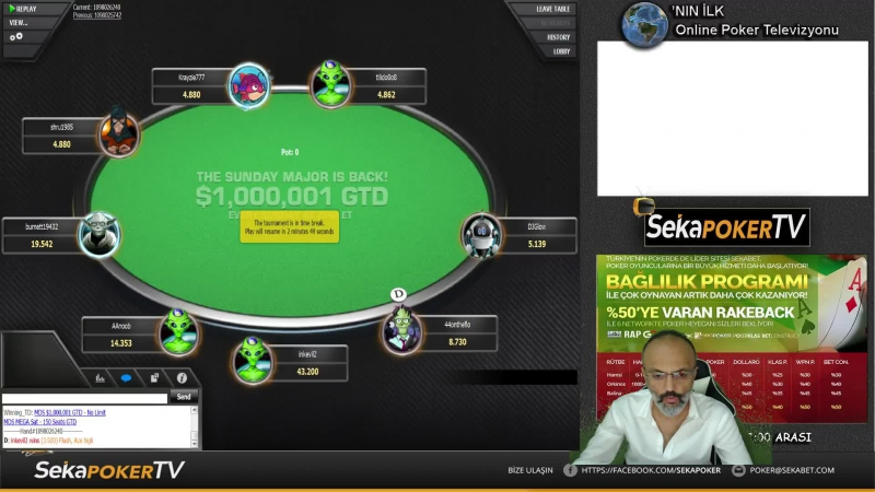 1 Milyon$ GTD MTT Turnuvada MAYBAHAR Final Table için oynuyor! SekaPoker TV