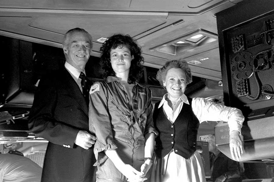 "Сигурни Уивер с родителями на съемках фильма ""Чужой"", 1979 год."