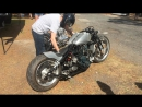 Diesel Motorcycle, Being Started and Built Around A Kubota Engine And Custom Frame From Kraft Tec