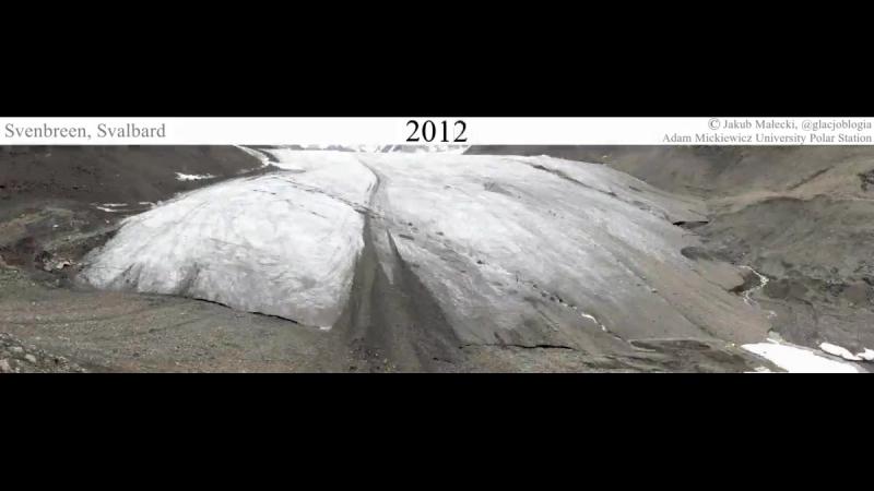 Jakub Maaecki 10 yrs in 1 sec Retreat of Svenbreen glacier year by year 20072017 AMUPS Arctic Svalbard Spitsbergen climatechang