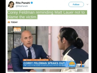Corey Feldman reminding Matt Lauer not to blame the victim.