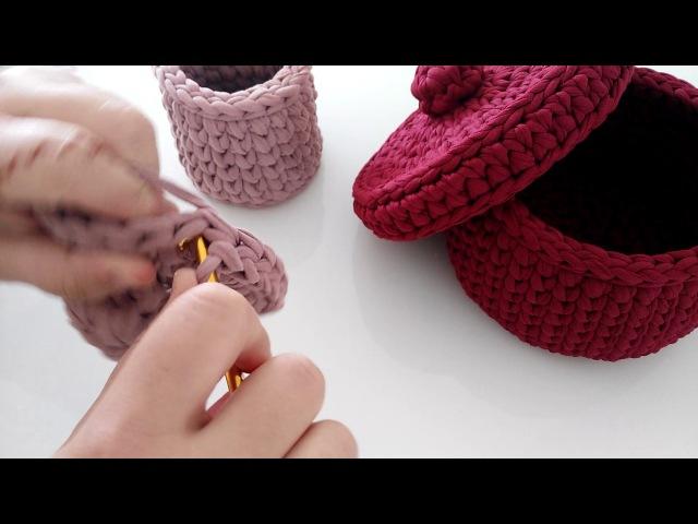 Penye ipten yuvarlak sepet yapımı ( penye ipten kapak yapımı)