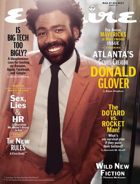 Дональд Гловер в фотосесии для мартовского выпуска журнала Esquire / 2018