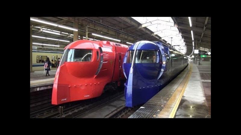 南海特急赤いラピート 青いラピートとの共演 天下茶屋駅 Nankai Rapi t