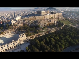 Acropolis of Athens Greece as seen by a Drone