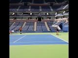 Maria Sharapova getting an intense workout in on Arthur Ashe... #USOpen