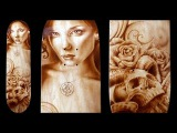 How to Airbrush Tattoo Style Skull, Flower, Portrait Design on a Skateboard Deck With Sean Cahill