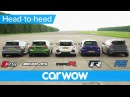 RS 3 v A45 AMG v Civic Type R v Golf R v Focus RS - DRAG ROLLING RACE | Head-to-Head