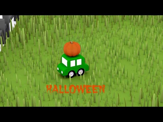 Préparations pour Halloween - Dessin animé de 4 voitures colorées
