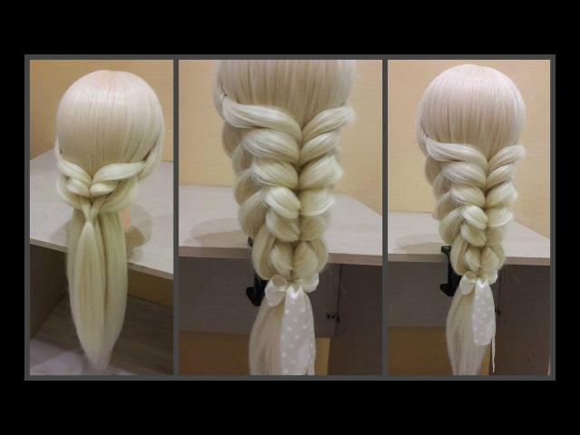 Коса с помощью резинок - Зеркальная Spit with rubber bands - Mirror