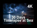 30 Days Timelapse at Sea 4K Through Thunderstorms, Torrent Rain Busy Traffic