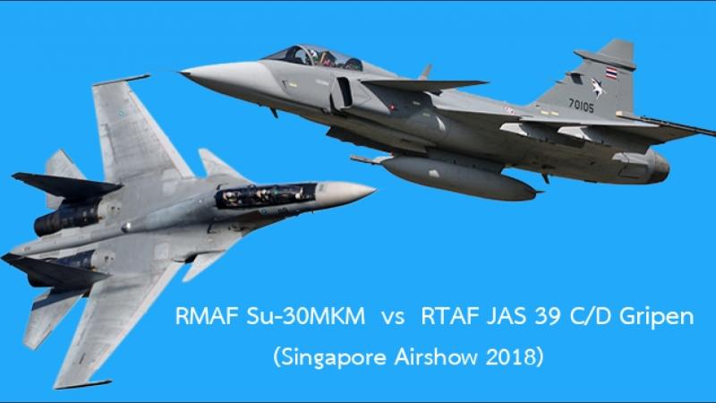 กริพเพน ทอ.ไทย ดวลกับ Su-30 MKM ของมาเลเซียเหนือน่านฟ้าสิงคโปร์ 2018 ใครพริ้วกว่ากัน