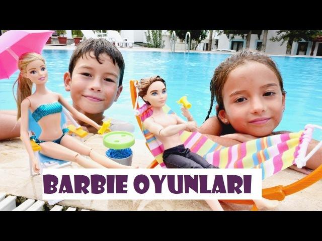 Barbie Bebeklerle Eğitici Oyunlar! Plaj oyunu, Oyun Hamurundan kurabiye, Hayvan bakma oyunu Ken