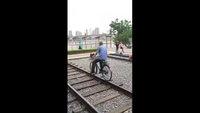 Китаец ловкач ездит по рельсам