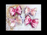 Простые бантики резинки канзаши из лент hair clips ribbon kanzashi DIY