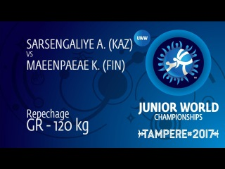 Repechage GR - 120 kg: K. MAEENPAEAE (FIN) df. A. SARSENGALIYE (KAZ) by VSU1, 12-4
