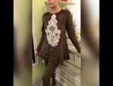 Очень крутой замшевый костюм в шоколадном оттенке с Итальянским кружевом ??? новая коллекция Shine...