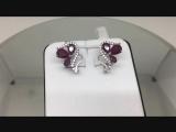 Серьги серебро 925 пробы с рубином и фианитами