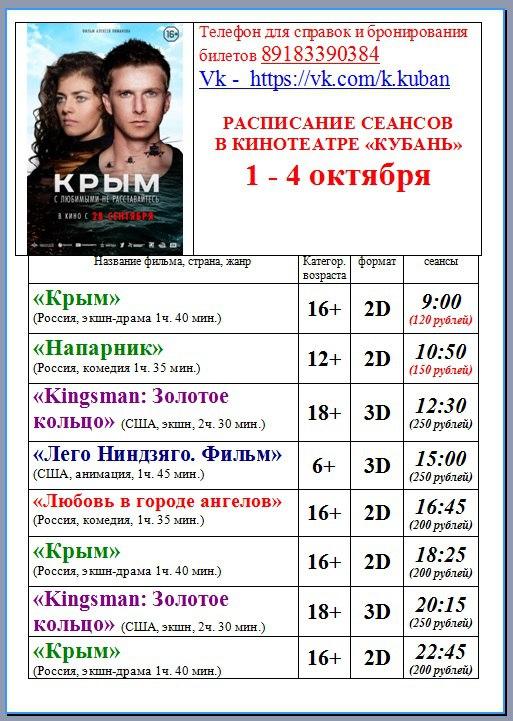 Афиша кинотеатра Кубань